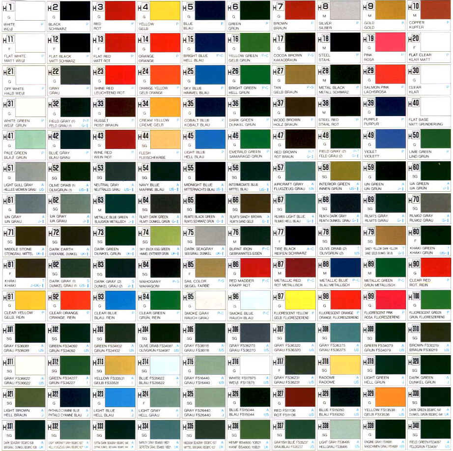 Color chart gunze mr color modeling color chart for model gunze mr color geenschuldenfo Gallery